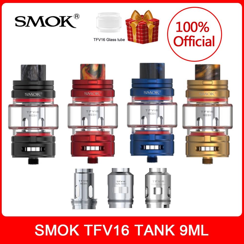 Original SMOK TFV16 Tank 9ml Atomizer +TFV16 Dual/Mesh Coil Vaporizer 510 Thread Electronic Cigarette VS TFV12 Prince Tank Vape