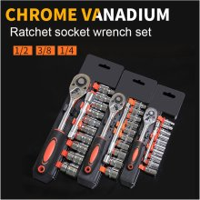 цена на 12PCS  Car Socket Ratchet Wrench Spanner Kit Sleeve Set Extension Rod Automobile Motorcycle Repairing Combo Tools