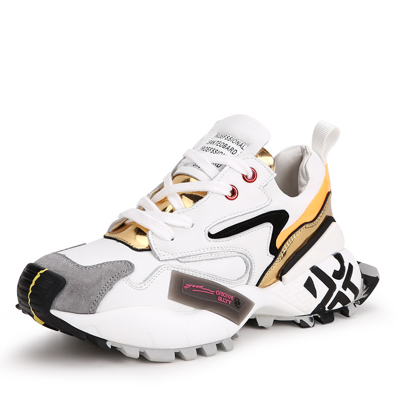 Thick-soled Shoes Female Genuine Leather, Paired Color Muffin Single Shoes Increasing Sports Leisure Shoes Safety Shoes
