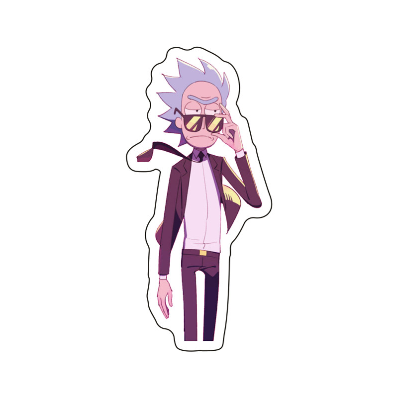 1PCS Cool Rick With Sunglasses Icon Acrylic Brooch Cute Morty Badge Pin Kids Birthday Gifts For Decoration On Backpack T-shirt
