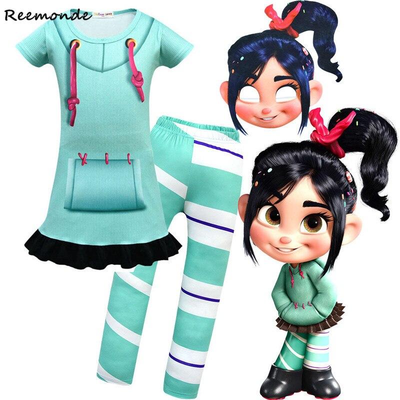 Kids Wreck-It Ralph Jumpsuits Cosplay Costume Ralph 3D Print Zentai Bodysuit Boy Uniform Vanellope Dress Mask Children Girl Suit