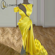 One Shoulder Yellow Mermaid Evening Dresses with High Side Split Satin Evening Gowns Sexy Party Night Dresses