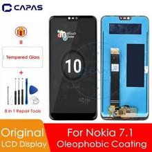 100% ノキア 7.1 液晶ディスプレイ 10 タッチスクリーンパネルノキア 7.1 液晶画面デジタイザ 5.84 「交換修理部品