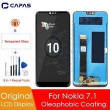 """100% מקורי עבור Nokia 7.1 LCD תצוגת 10 מגע מסך פנל עבור נוקיה 7.1 LCD מסך Digitizer 5.84 """"החלפה חלקי תיקון"""