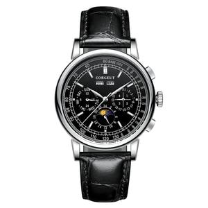 Image 1 - Часы мужские механические, автоматические часы с Лунной фазой из нержавеющей стали 316L