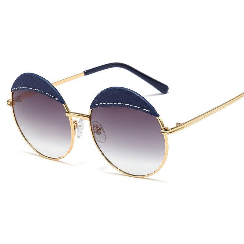 FENCHI Oversized Round Women Sunglasses 2021 Retro Trendy Luxury Brand Designer Sun Glasses Matel Flame Zonnebril Dames