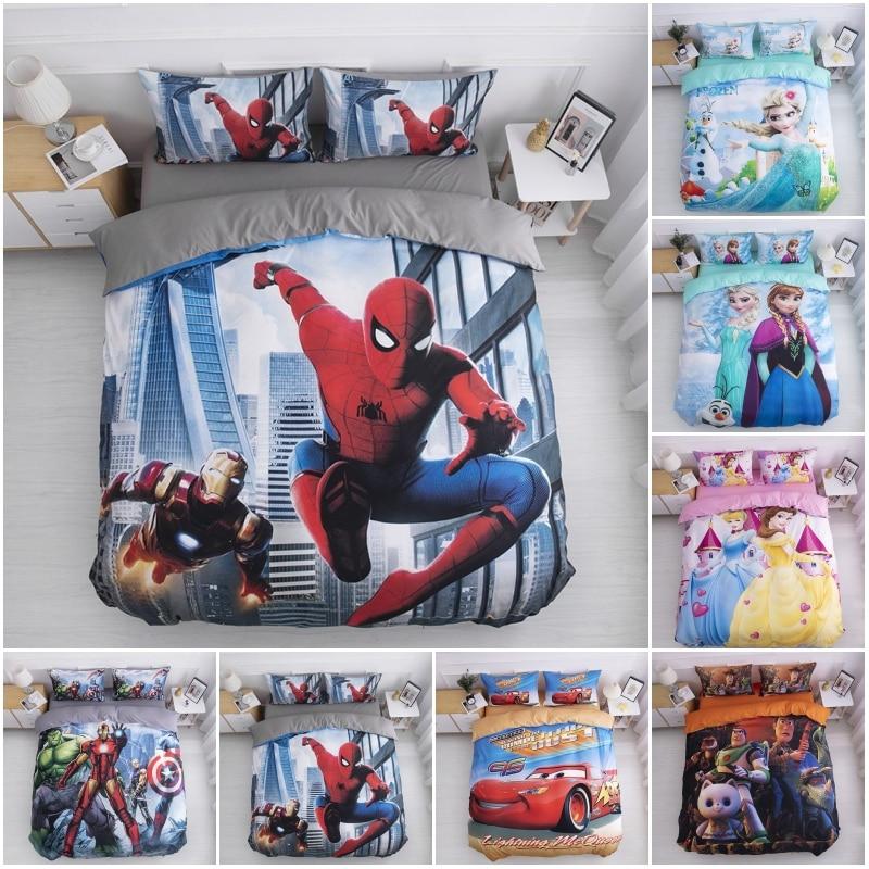 Disney Avengers Iron Man Spiderman Baby Bedding Set Duvet Cover Pillowcases For Boys Children Twin Bedclothes Birthday Gift 2020