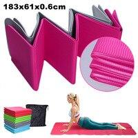 Foldable Travel TPE Yoga Mat 183x61x0.6cm with Carry Bag Tasteless Sweat Absorbent Anti Slip for Yoga Pilates Floor Exercises