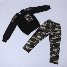 Boys leisure spring and autumn suit children camouflage boy sports two pieces цены
