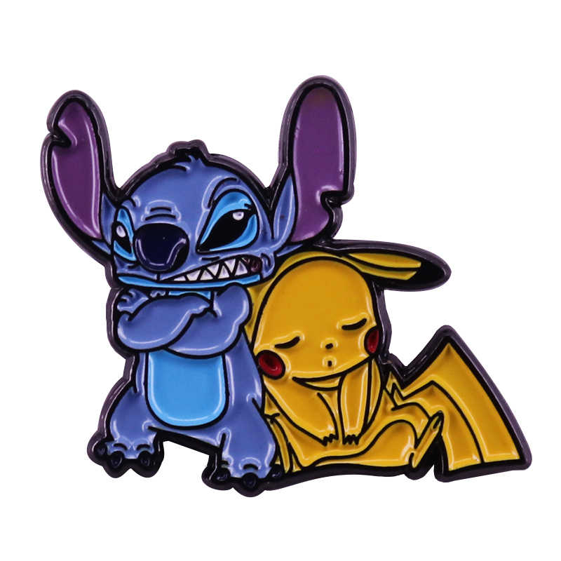 Lilo Stitch e Pikachu carino spilla Pokemon sci-fi appassionati di cinema di pop mash-up