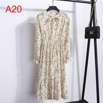 Женская одежда размера плюс, шифоновые платья-рубашки с длинным рукавом для женщин, с красным цветочным бантом, для клувечерние, Осень-зима 2020, для женщин 2
