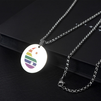 Wukaka Fashion Rainbow Gay Pride LGBT Necklace Windmill Square Girl Boy Symbol Stainless Steel Necklaces Men Jewelry 11