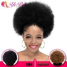 10 дюймов афро слоеные волосы пучок шнурок конский хвост парики Кудрявые вьющиеся человеческие волосы на заколках для наращивания Yepei remy волосы