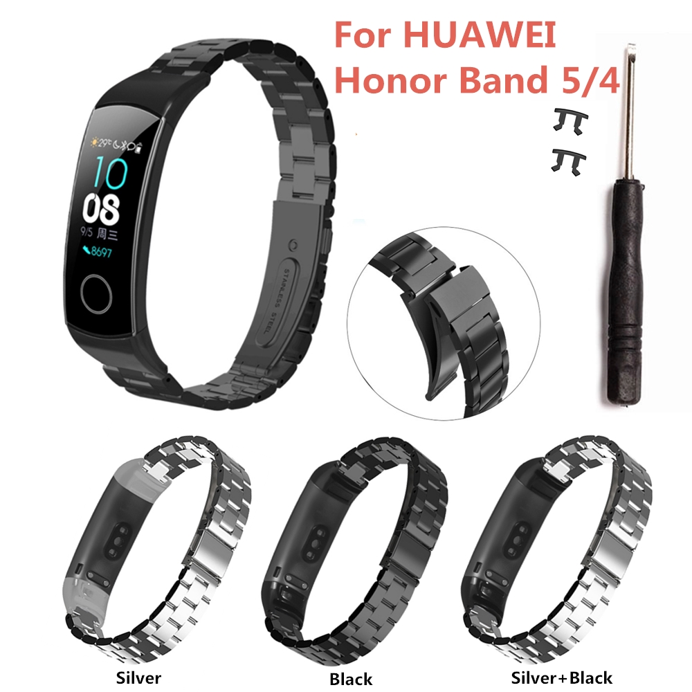 High Quality Stainless Steel Metal Strap For Huawei Honor Band 5 4 Smartwatch Bracelet Fitness Men Women Wristband Replacement