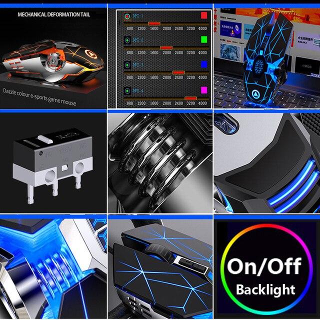 Gaming Keyboard Mouse Mechanical Feeling RGB LED Backlit Gamer Keyboards USB Wired Keyboard Computer Game Keyboard For PC Laptop 6