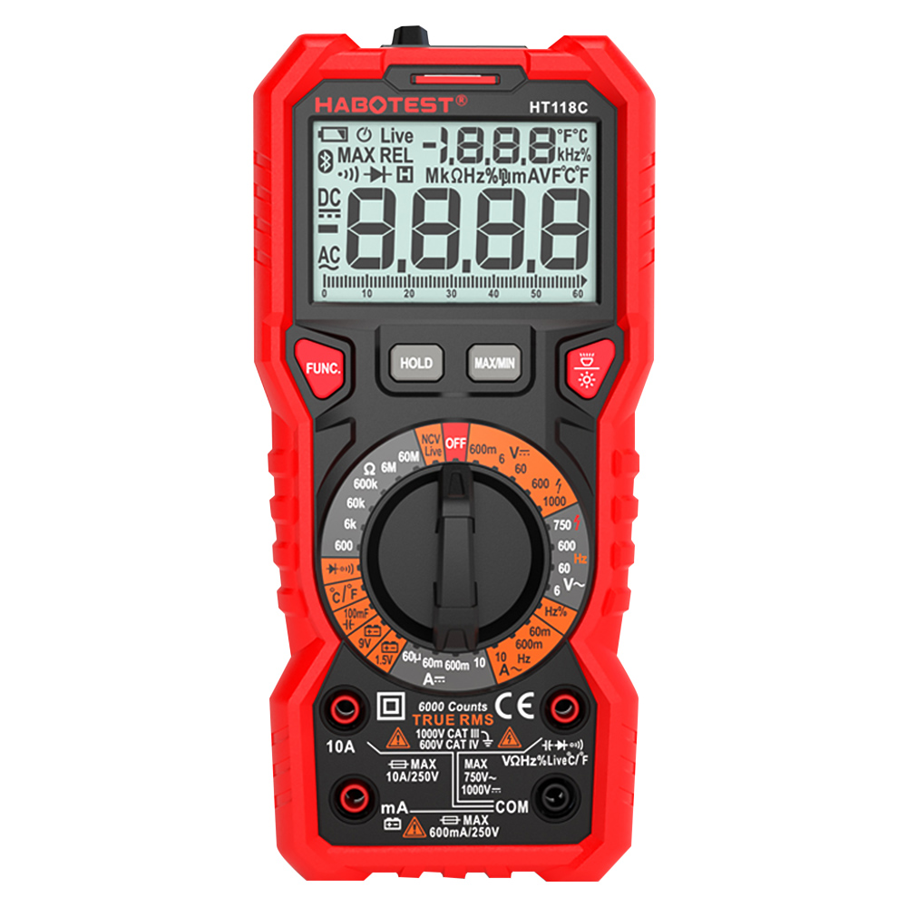 Habotest HT118C 6000 Counts Digital Multimeter Multitester Multi Tester Transistor Capacitor Tester Multitester Profesional