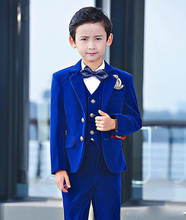 3 Pcs Blue Toddler Boys Suits Wedding Formal Children Suit Tuxedo Dress Party Ring bearer H017 new boys suits 3 piece royal blue suit boys wedding tuxedo page boy formal party
