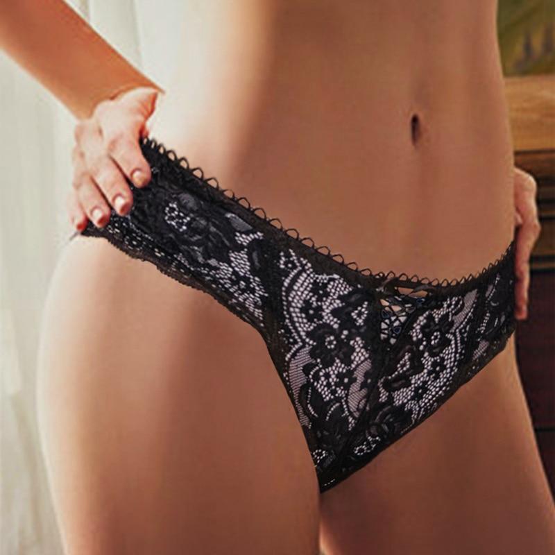Perspektive Sexy Höschen Frauen Spitze Unterwäsche Höschen Weibliche Unterhose Aushöhlen Briefs Dessous Lingerie Solide Farbe M-XL