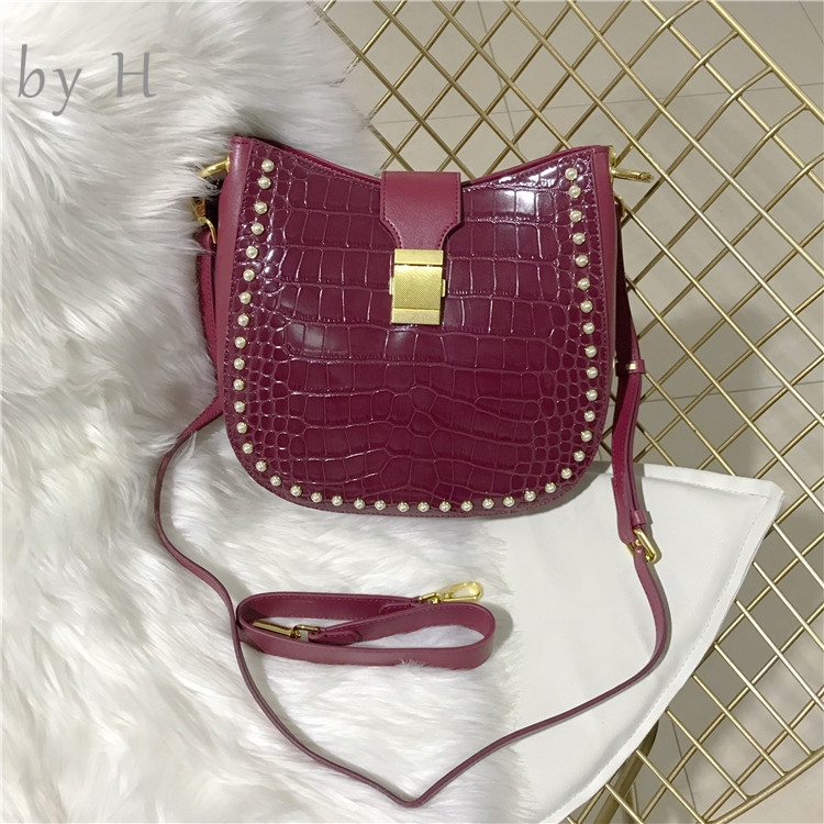 by H 2019 bolsa feminina Croco Embossed Hot Pink Basket Shoulder Bag Women's Autumn Collection Guitar Strap Pearl Handbag