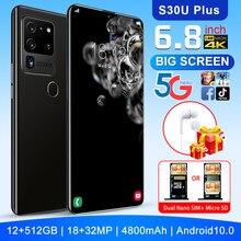Débloqué téléphones Android d'origine Smartphone 6.8 pouces téléphone portable double SIM caméra 4G cellule Mobile téléphone intelligent empreinte digitale visage Unloc