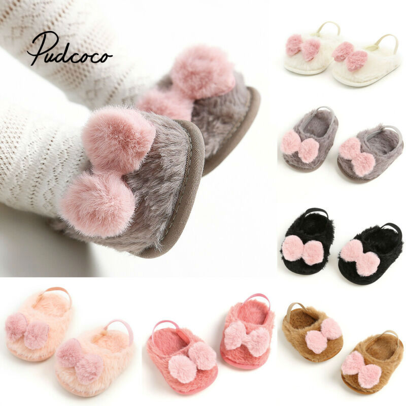 Brand Cute Toddler Newborn Baby Crawling Shoes Boy Girl Pom Pom Bow Lamb Slippers Prewalker Trainers Baby Shoes 0-18M 11-13CM