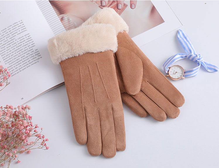 Women Warm Solid Color Glove Plush Doll Mittens  Gray  Ski Driving Gloves Winter Gloves Winter Gloves