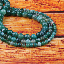 Green Striped Agate Natural Stone Bead Round Loose Spaced Beads 15 Inch Strand 4/6/8/10/12mm For Jewelry Making DIY Bracelet