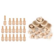 20Pcs Unfinished Holz Peg Nesting Dolls Menschen Bodies amp 1 Set Unfinished Holz Holz Acorn Zählen und Sortierung Deco cheap CN (Herkunft) Nein Maskottchen Modern