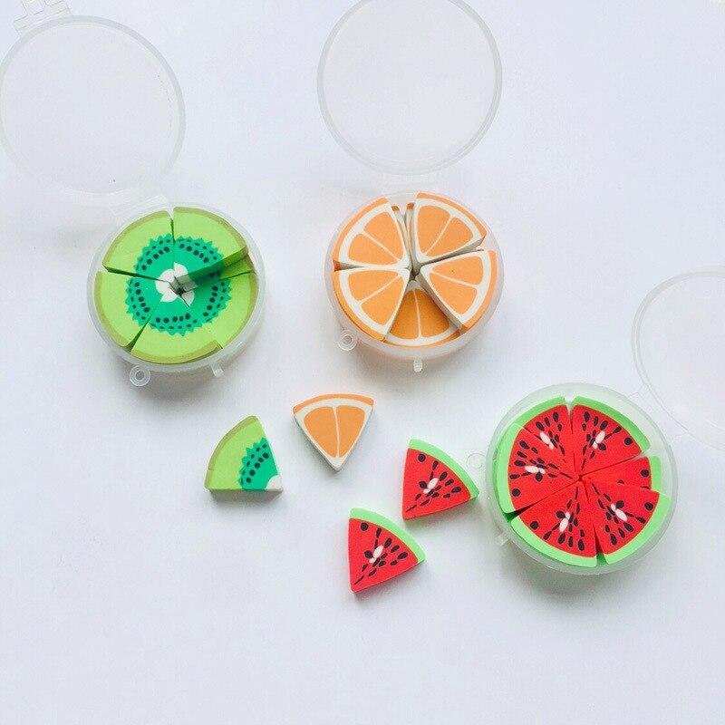 10 Pcs/pack Fruits Kiwifruit Orange Round Box Rubber Eraser Primary Student Prizes Promotional Gift Stationery