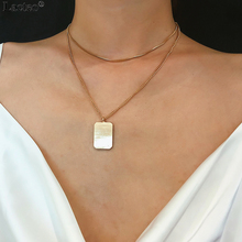 Lacteo Simple Minimalist Multi Layer Choker Necklace for Women Statement Geometric Square Pendant Long Chain Necklace Jewelry lacteo simple minimalist multi layer choker necklace for women statement geometric square pendant long chain necklace jewelry
