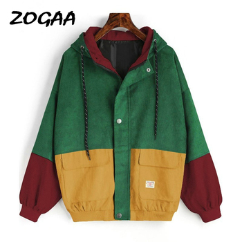 ZOGAA Autumn Outerwear & Coats Jackets Long Sleeve Corduroy Patchwork Oversize Zipper Jacket Windbreaker Coats and Jackets Women women jackets winter coats long sleeve fashion lapel zipper patchwork jacket outerwear female short elegant ladies clothing tops