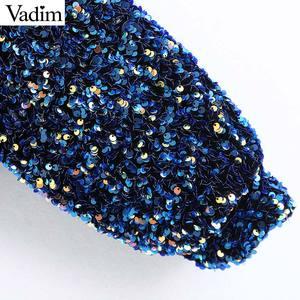 Image 5 - Vadim womne אופנה סקסי נצנצים shinny חולצה אחת כתף נמתח צד רוכסן צד נשי ללבוש יבול צמרות blusas LB724