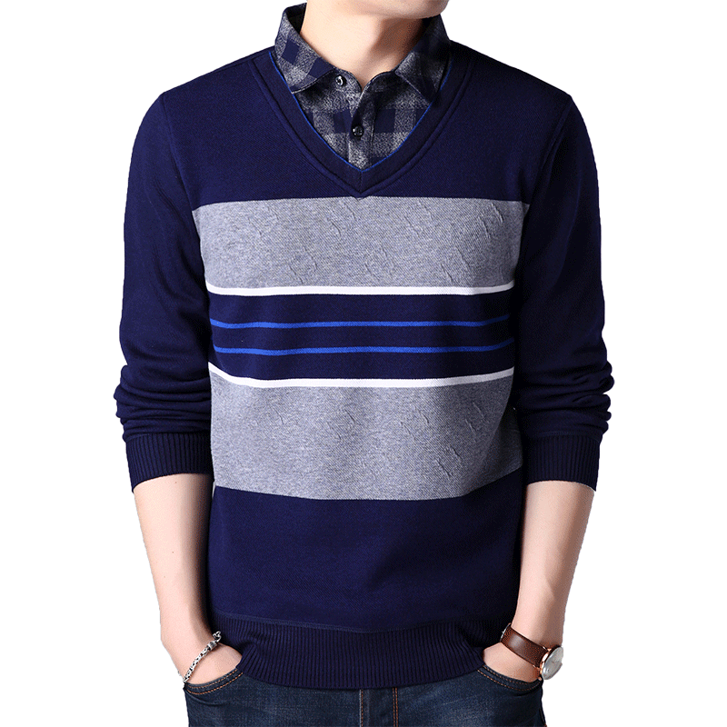 FAVOCENT Male Sweater Clothing Slim-Fitted O-Neck Warm Autumn Striped Casual Fashion