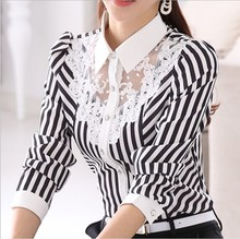 S-4XL Plus Size Women Black And White Striped Lace Stitching Blouse 2019 Autumn Korean Office Lady Long Sleeve Chiffon Shirt