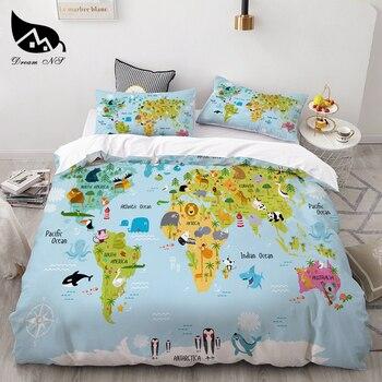 Dream NS Cartoon Set Mapa con animales turismo atracción reina ropa de cama funda de edredón funda de almohada edredón juegos de cama