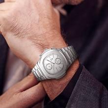 лучшая цена New KIMSDUN top brand men's watch fashion trend square dial steel strap multi-function chronograph calendar quartz watch men