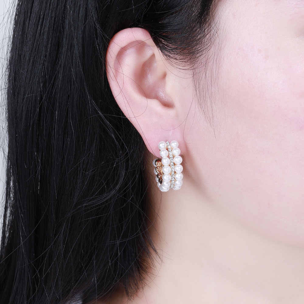 Hancheng Baru Fashion Anting-Anting Menggantung Anting-Anting Lingkaran dengan Mutiara Anting-Anting Anting-Anting untuk Wanita Perhiasan Brincos Bijoux