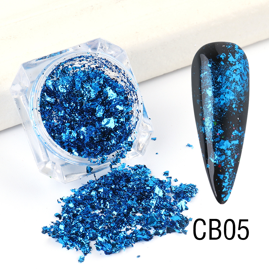 1 Box Gold Glitter Flakes Irregular Aluminum Foil Sequins For Nails Chrome Powder Winter Manicure Nail Art Decorations LY1858-1 25