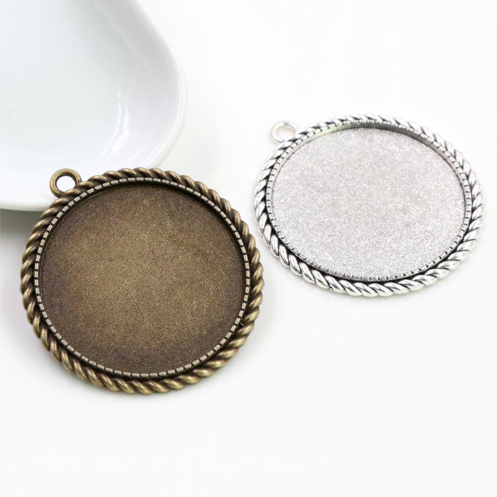 5pcs/lot 35mm Inner Size Antique Bronze And Silver Colors Plated Fashion Style Cabochon Base Setting Charms Pendant