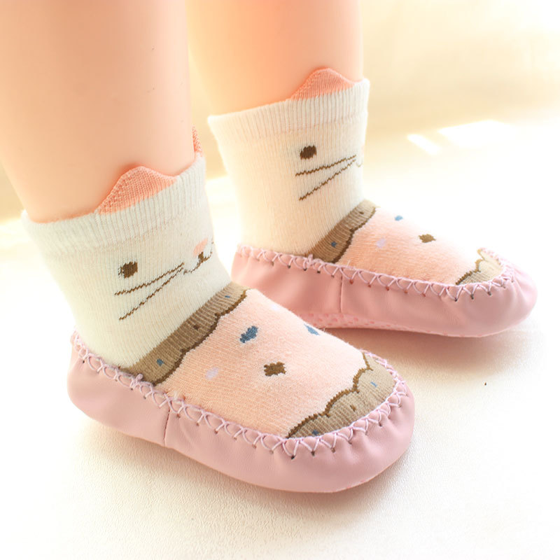 Cotton Soft Baby Shoes Cartoon Kitty Toddler Girls Shoes Infant Boys First Walkers Baby Floor Socks