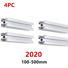 4pcs/lot 2020 Aluminum Profile Extrusion 100mm-500mm Length Linear Rail 200mm 400mm 500mm for DIY 3D Printer Workbench CNC