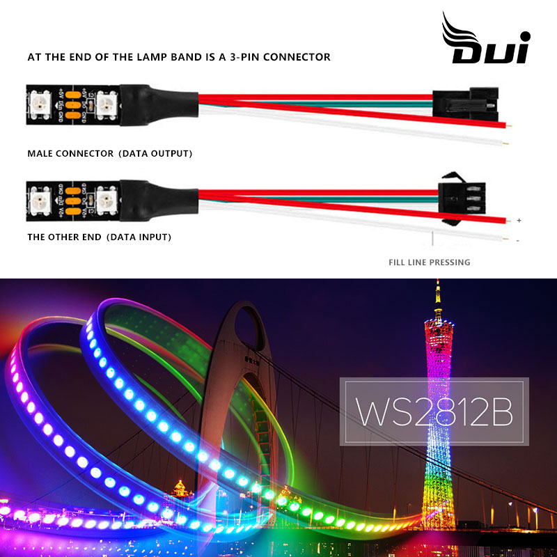 WS2812B Magic LED Single Point Control Light Band 5V Full Color 5050 Patch Built-in IC Light Strip Blinding Soft Light Bar