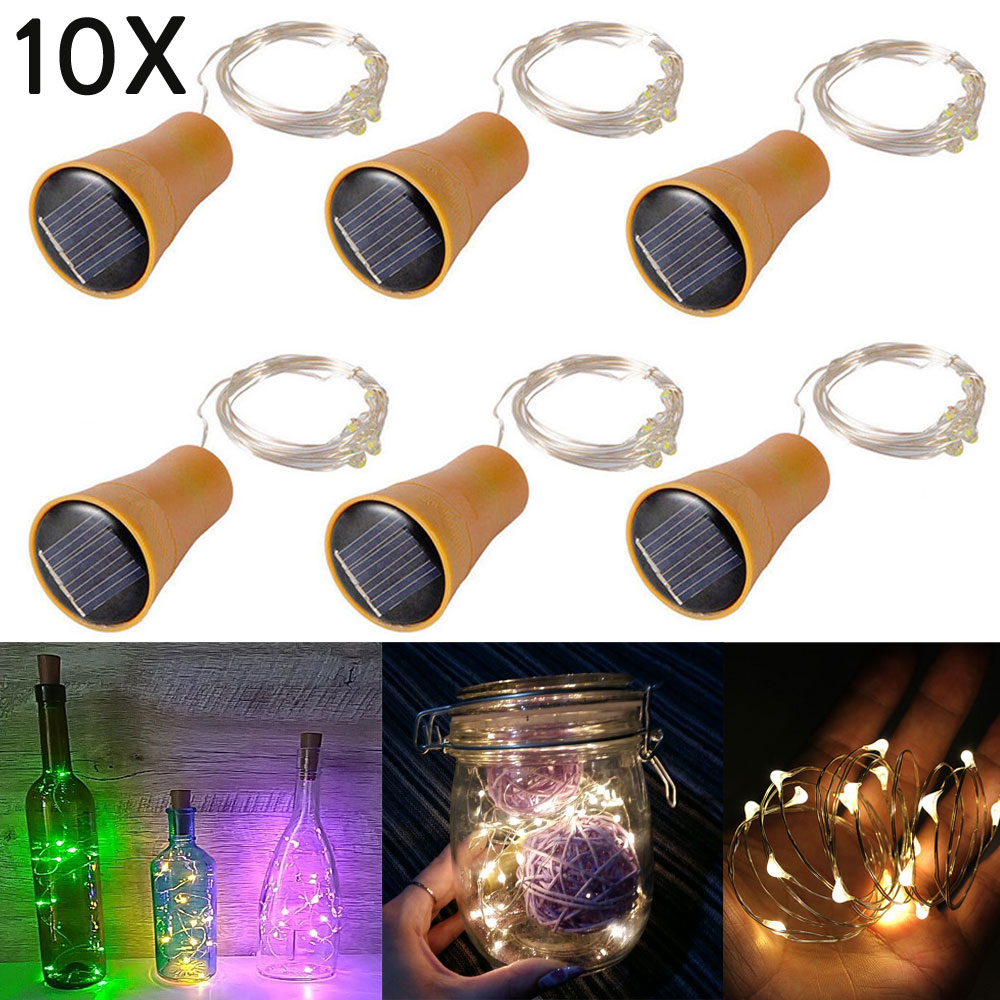 2019 10PCS 1M 1.5M 2M Solar Cork LED String Light Copper Wire String Holiday Fairy Lights For Christmas Party Wedding Decor
