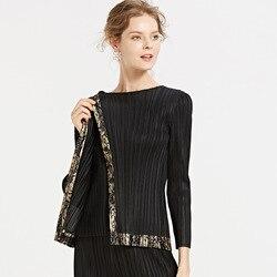 Miyake bronce Europa y América vestido de mujer 2019 otoño ropa nuevo estilo mujer ajustado ajuste blusas Casual de manga larga T-shi
