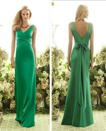 Free Shipping Robe De Soiree Vestido De Festa Longo 2018 New Hot V-neck Bow Belt Green Long Formal Party Gown Bridesmaid Dresses