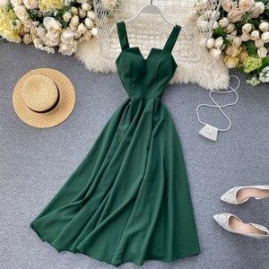 Fitaylor 2020 Sexy V-neck Vintage Back Bandage Dress Women Summer Elegant Big Swing Long Party Dress Female Green Beach Dress