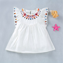 Infant  girl clothes summer 2019 Casual Brief Baby Girls ruffled Fly Sleeve cute white embroidered Dresses Solid Dress Clothing недорого