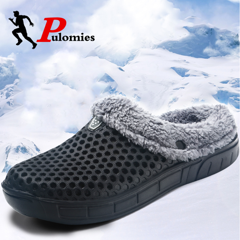 PULOMIES Men Women Slippers Fur Slippers Warm Fuzzy Plush Slippers Ladies Slippers Indoor Slippers Men Women Winter Slippers