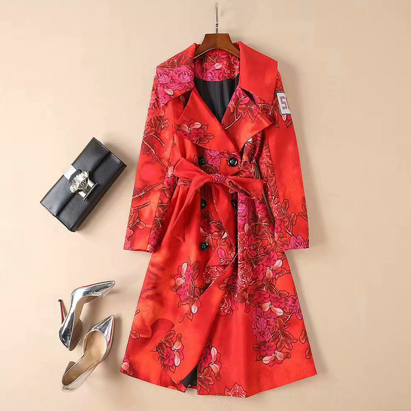 VERDEJULIAY Runway Red   Trench   Women 2020 Autumn Winter High Quality Full Sleeve Belt Beading Flower Print Long Elegant   Trench
