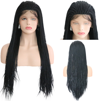 RONGDUOYI Black 200% Density 2x Twist Braids Lace Front Wigs for Women Long Hair 400 Braided Synthetic Wig with Natural Hairline